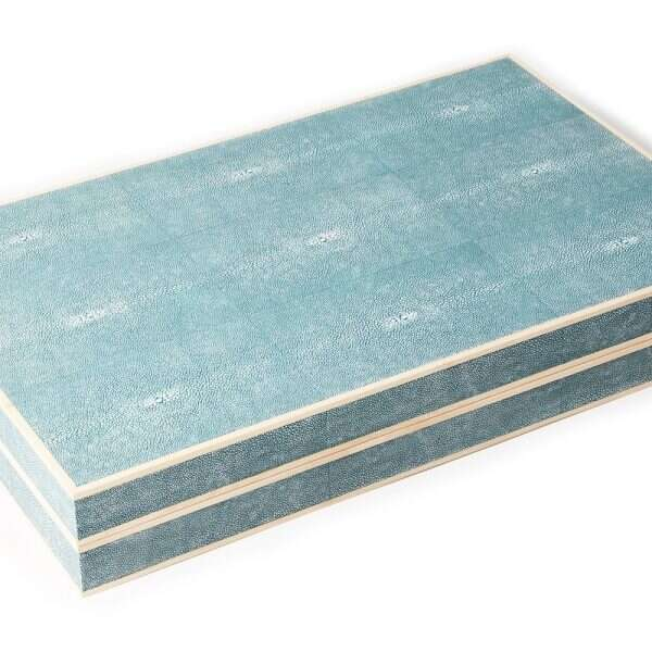 Backgammon Board in Teal Shagreen and Sycamore 5