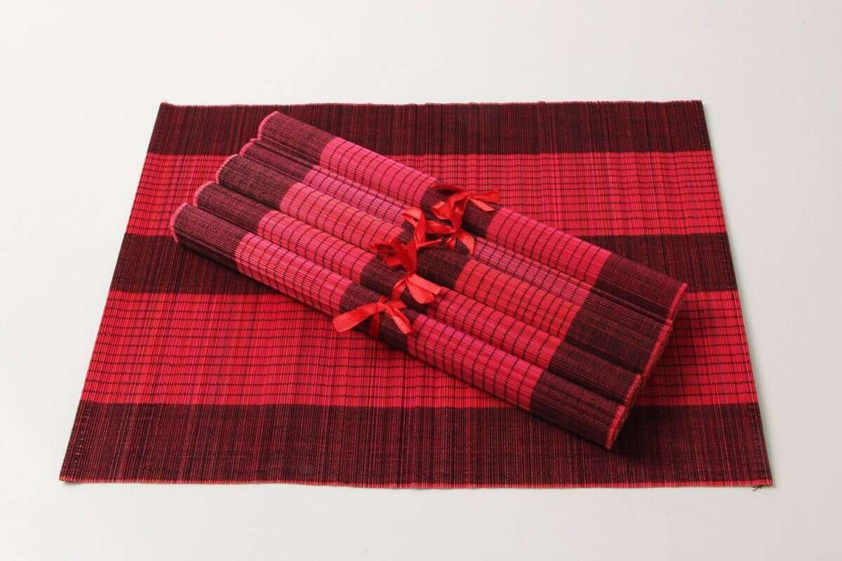 Crimson Red Bamboo Placemats 2