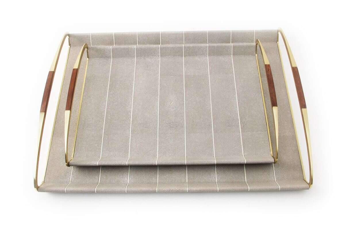 Jules Drinks Trays in Barley Shagreen by Forwood Design 3
