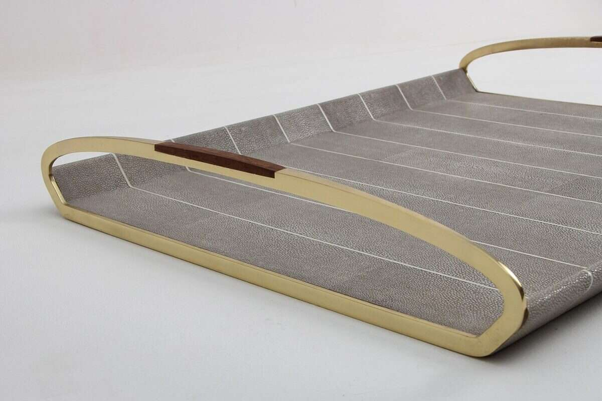 Jules Drinks Trays in Barley Shagreen by Forwood Design 2