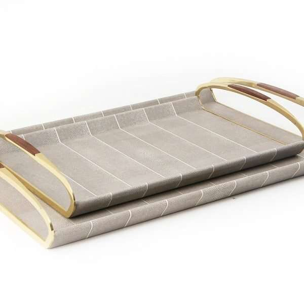 Jules Drinks Trays in Barley Shagreen by Forwood Design 4