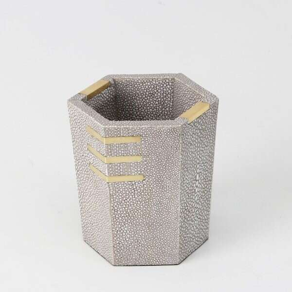 Christie Pen Pot in Barley Shagreen by Forwood Design 3