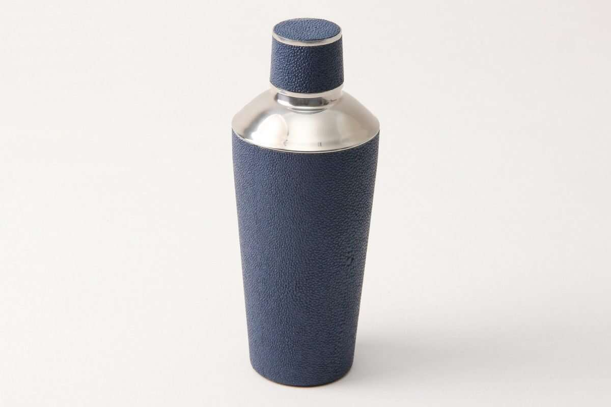 Cocktail Shaker in Nile Blue Shagreen by Forwood Design 5