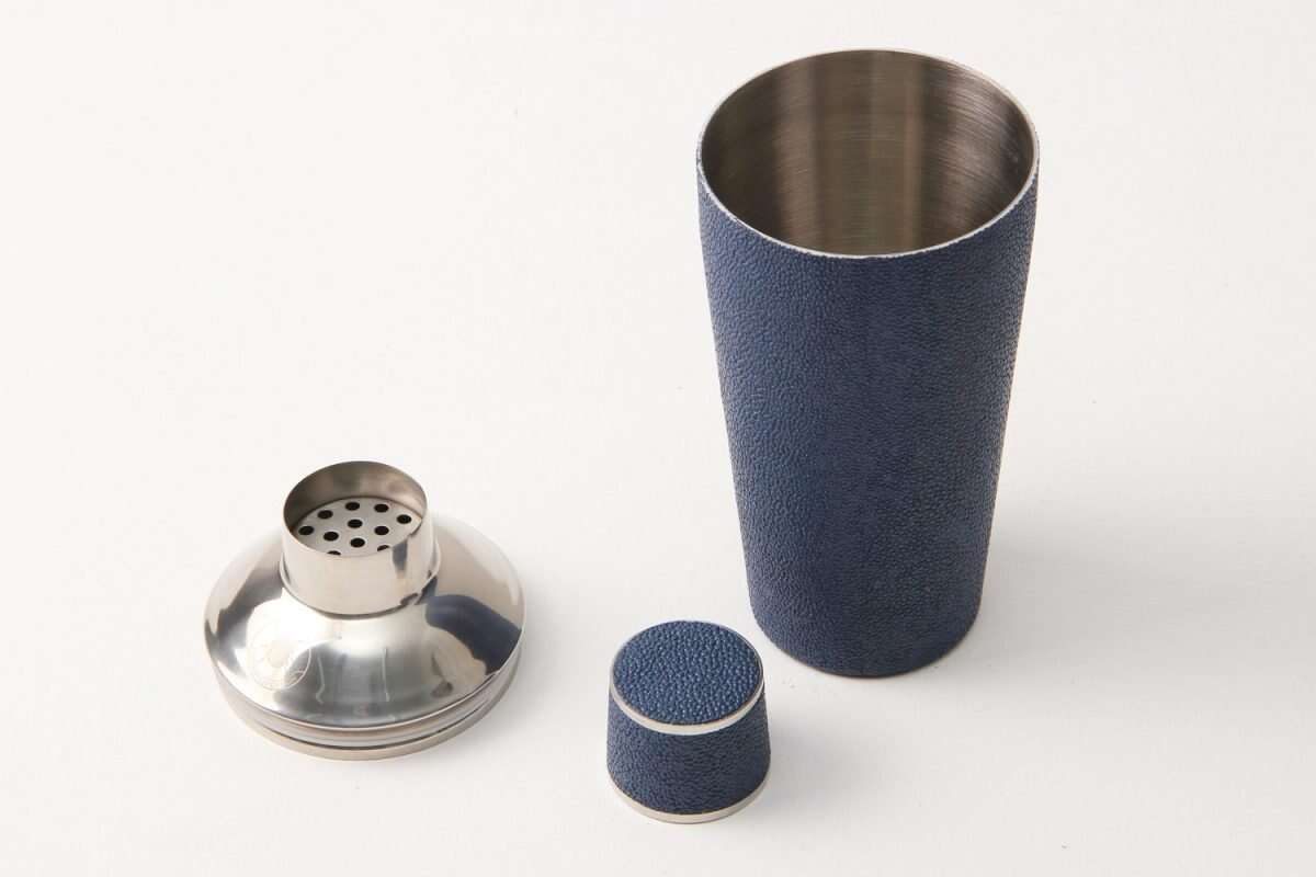 Cocktail Shaker in Nile Blue Shagreen by Forwood Design 4