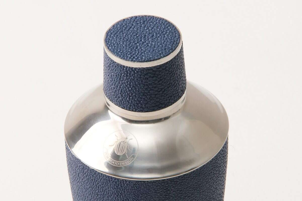 Cocktail Shaker in Nile Blue Shagreen by Forwood Design 3