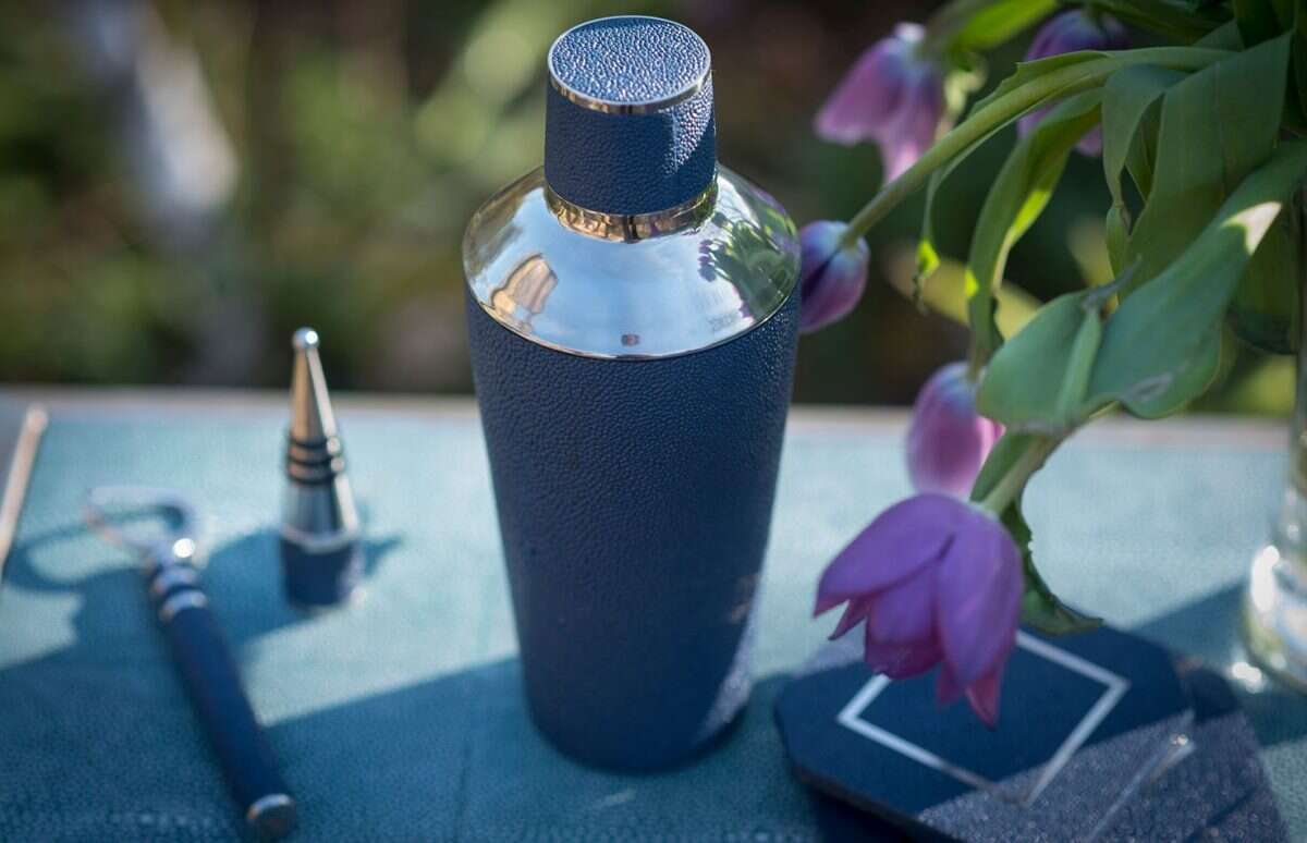 Cocktail Shaker in Nile Blue Shagreen by Forwood Design 1