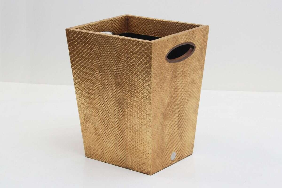 Boa Waste Bin in Antique Gold by Forwood Design 6