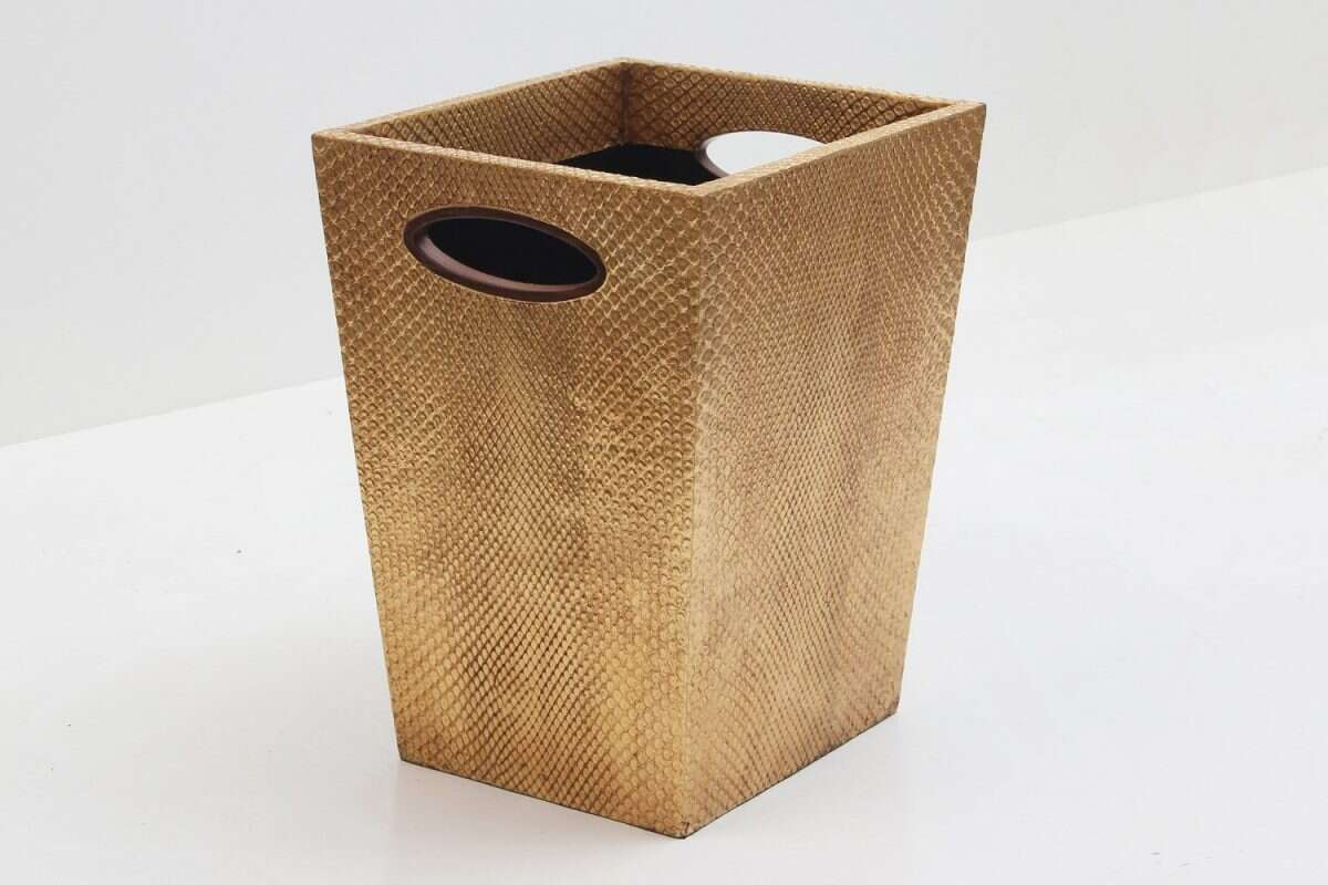 Boa Waste Bin in Antique Gold by Forwood Design 4