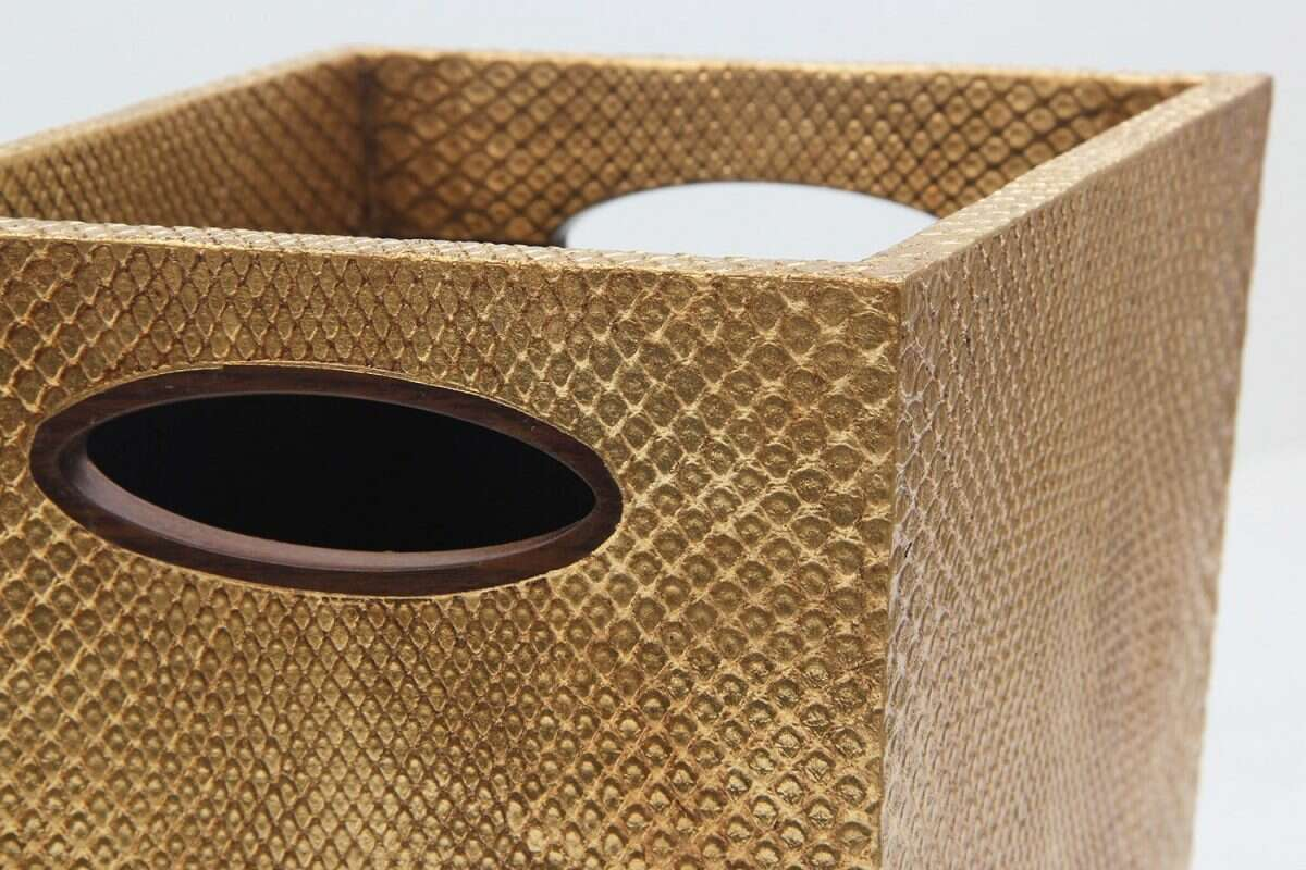 Boa Waste Bin in Antique Gold by Forwood Design 3
