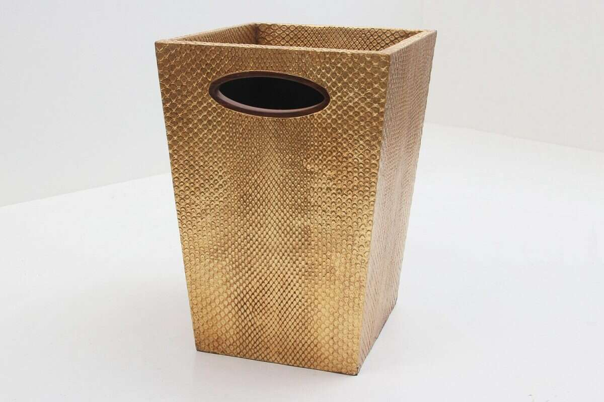 Boa Waste Bin in Antique Gold by Forwood Design 2
