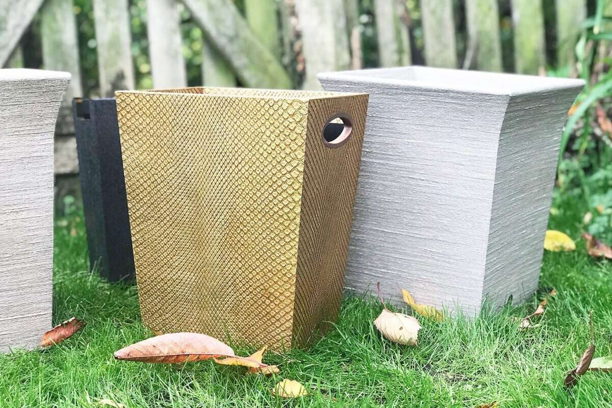 Boa Waste Bin in Antique Gold by Forwood Design 1
