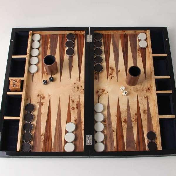 Large Backgammon board set in faux shagreen leather