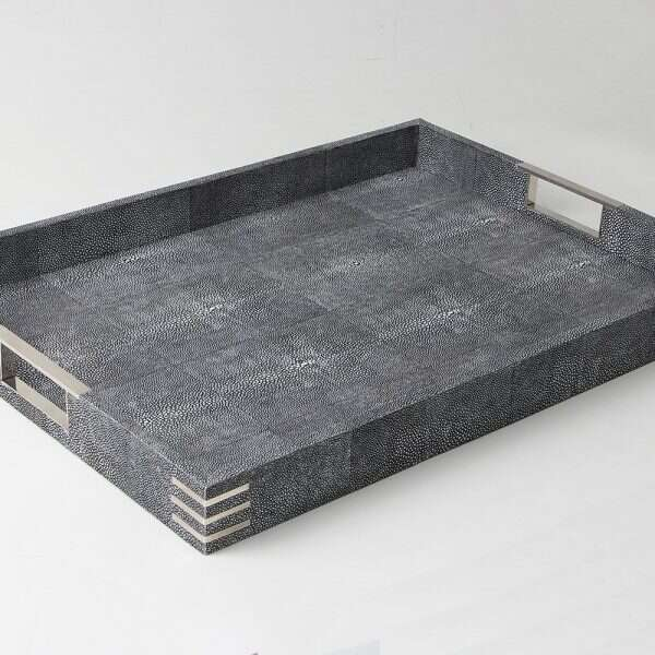Chandler Drinks & Serving Tray in Charcoal Shagreen by Forwood Design 6