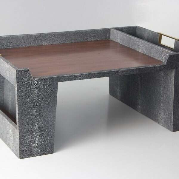 Bed Tray in Charcoal Shagreen by Forwood Design 7