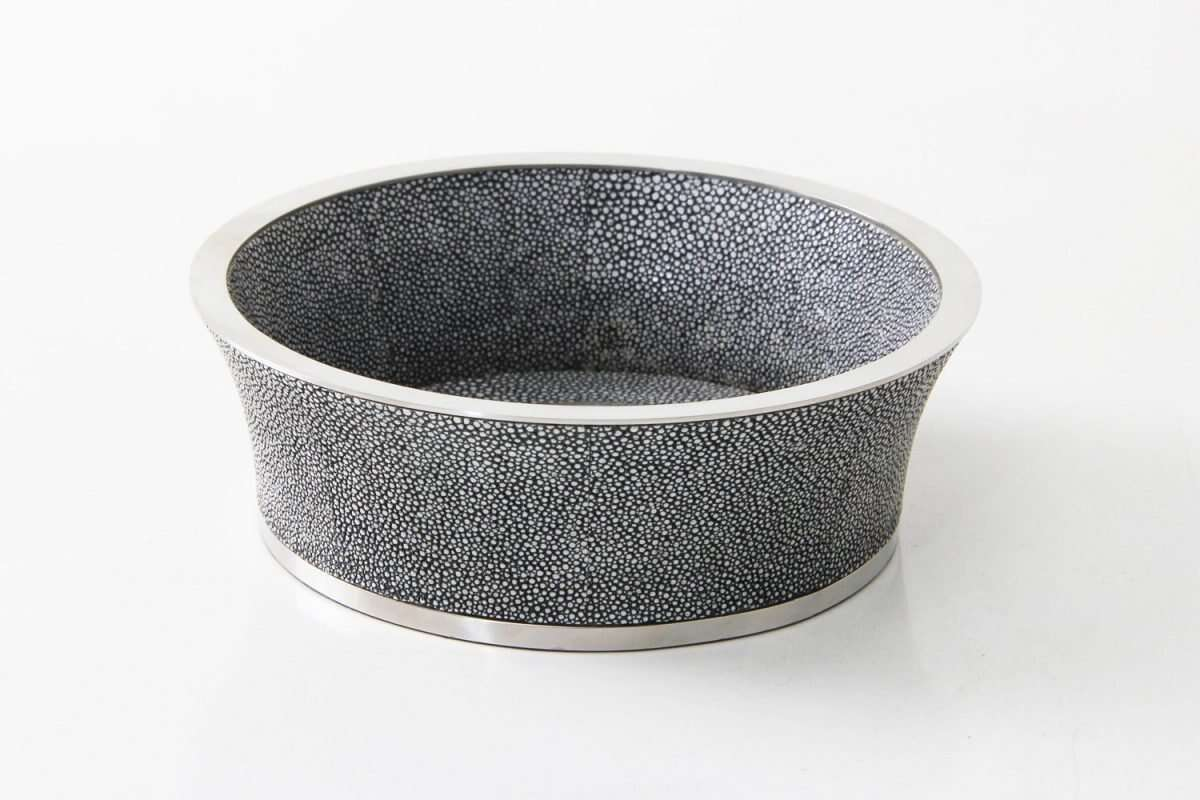 Wine Bottle Coaster in Charcoal Grey Shagreen by Forwood Design 5