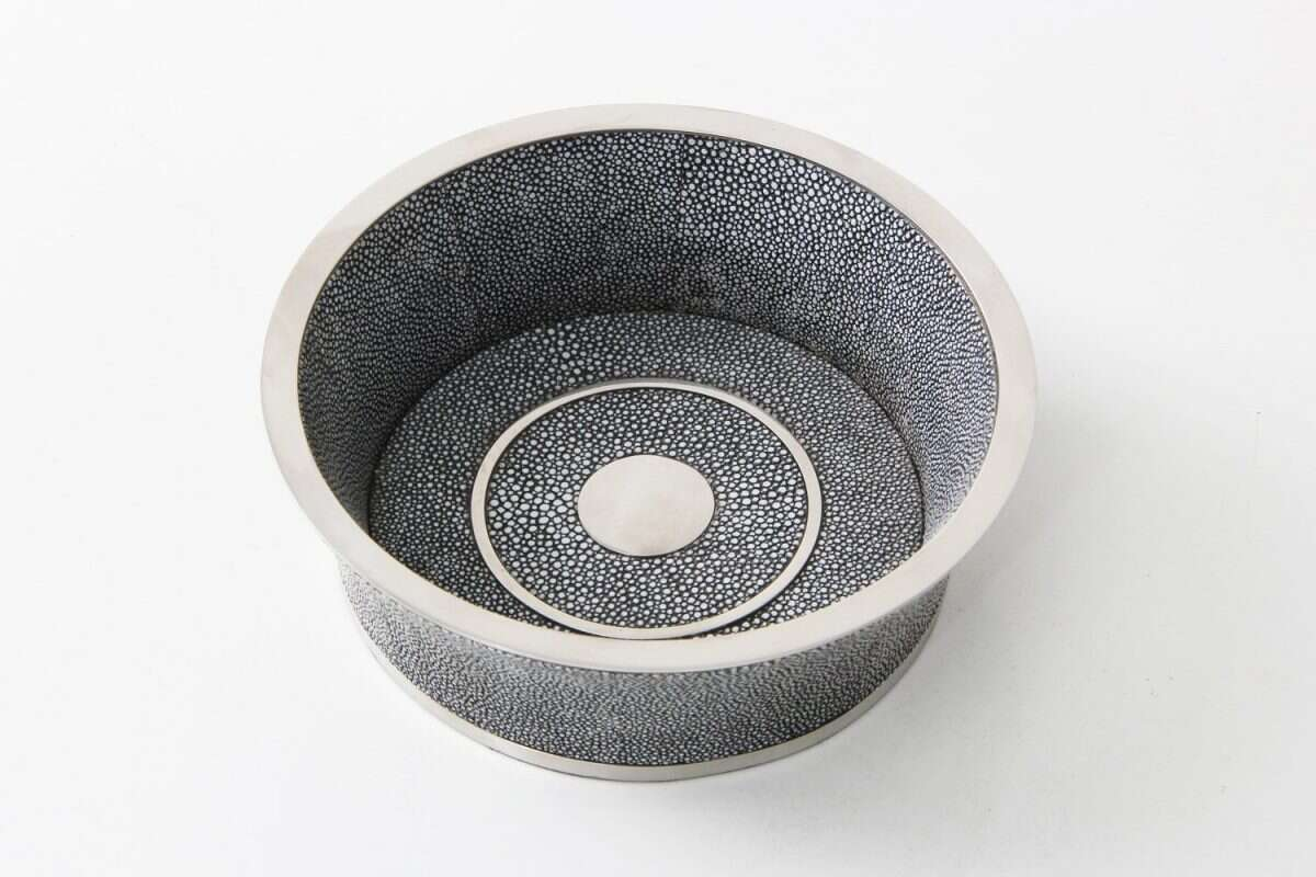 Wine Bottle Coaster in Charcoal Grey Shagreen by Forwood Design 3
