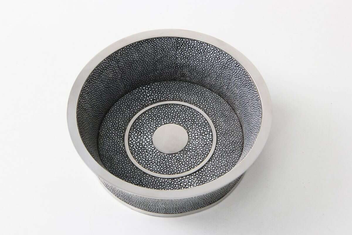 Wine Bottle Coaster in Charcoal Grey Shagreen by Forwood Design 2