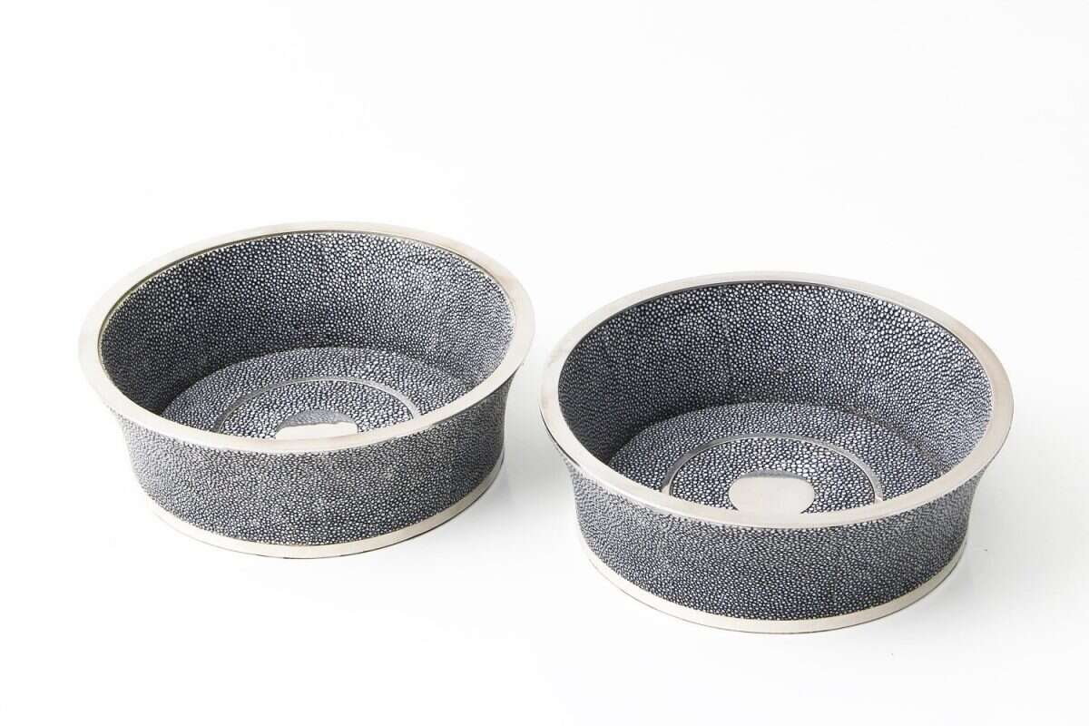 Wine Bottle Coaster in Charcoal Grey Shagreen by Forwood Design 1