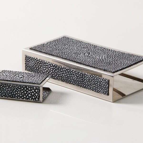 Matchbox Holders in Charcoal Grey Shagreen by Forwood Des5ign