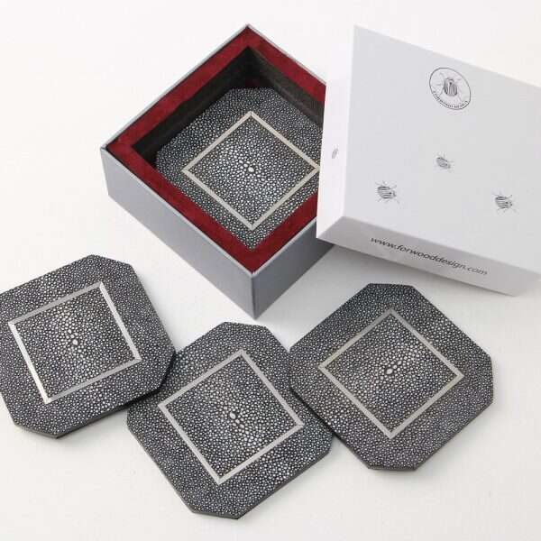 Chandler Drinks Coasters in Charcoal Shagreen by Forwood Design 2