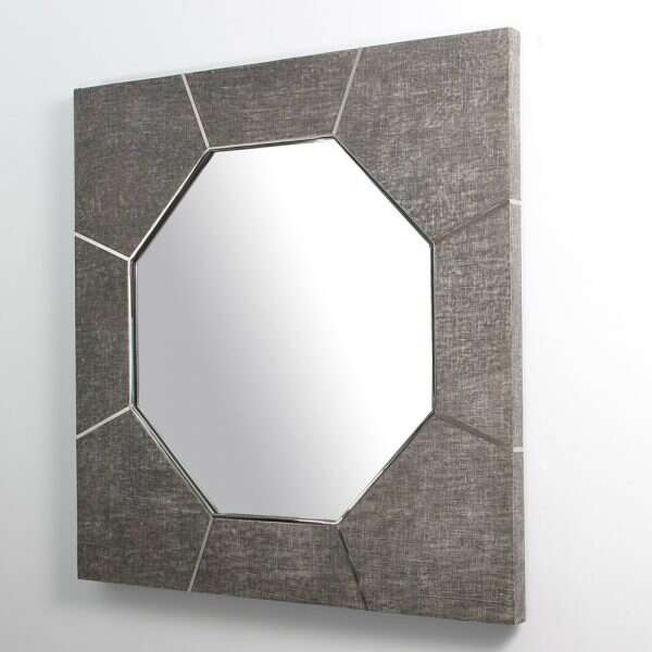 Keslo Wall Mirror in Charcoal Grey Linen by Forwood Design 5