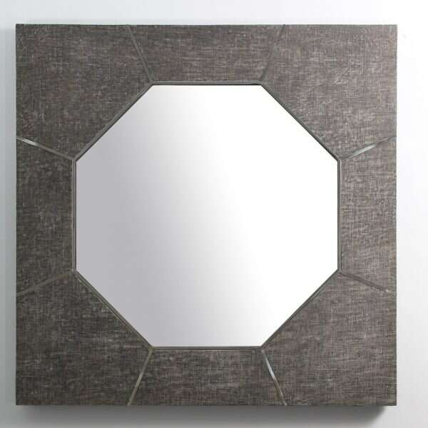 Keslo Wall Mirror in Charcoal Grey Linen by Forwood Design 1