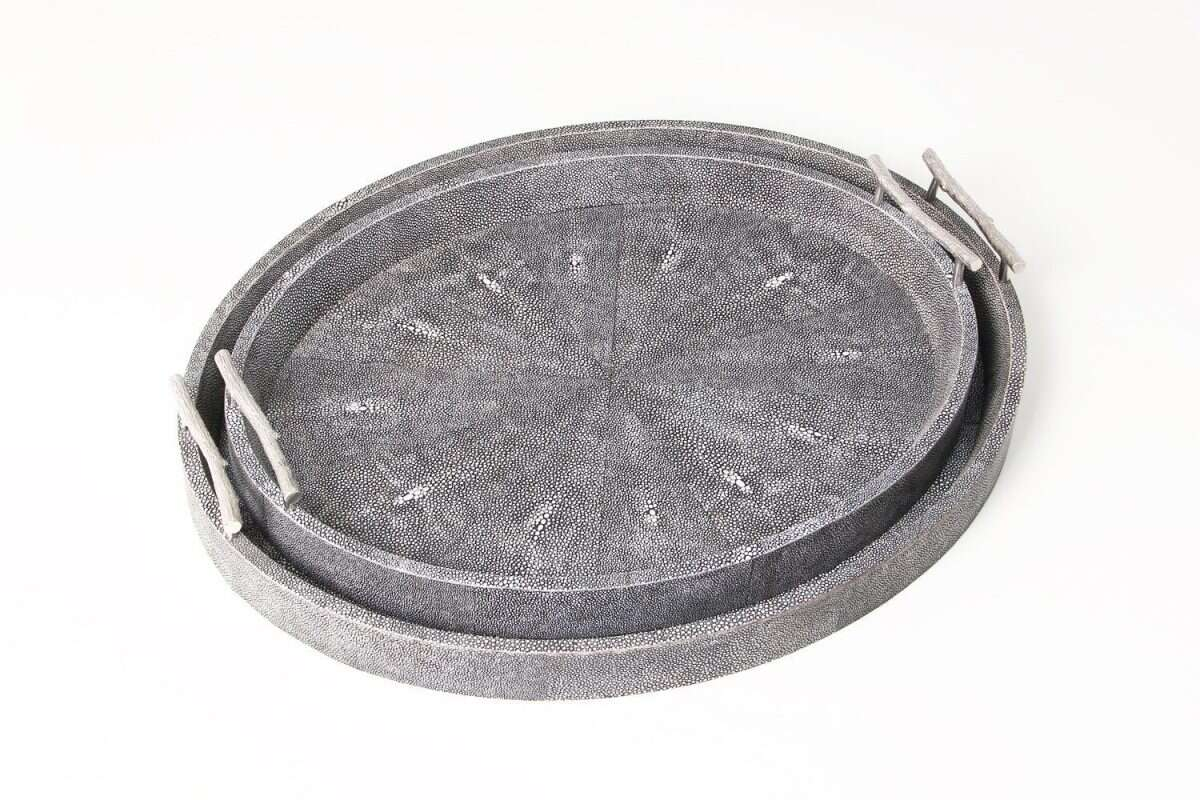 Oval Serving Tray in Charcoal Shagreen by Forwood Design 3