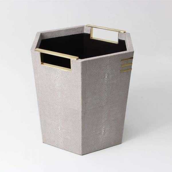 Christie Waste Bin in Barley Shagreen 4