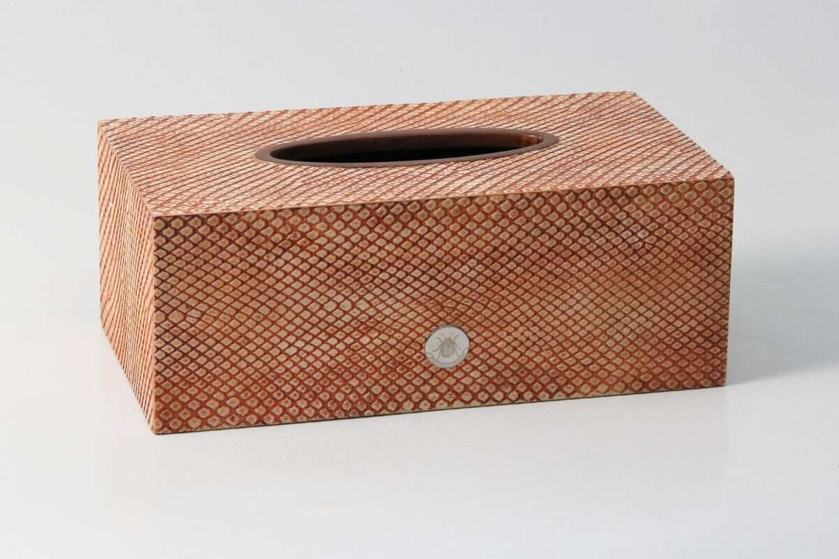 Tissue Box in Coral Boa Snakeskin by Forwood Design 2