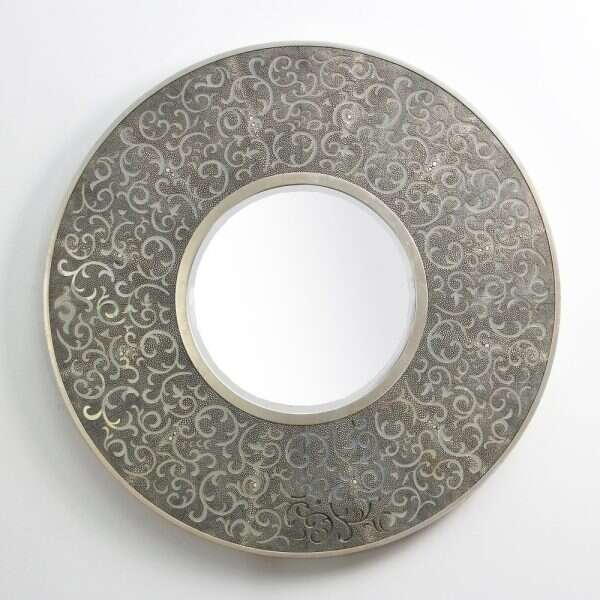 Damask Mirror in Charcoal Shagreen by Forwood Design 2