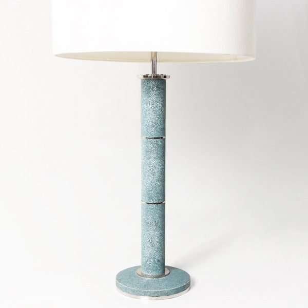 Diss Column Table Lamp in Teal Shagreen by Forwood Design 5