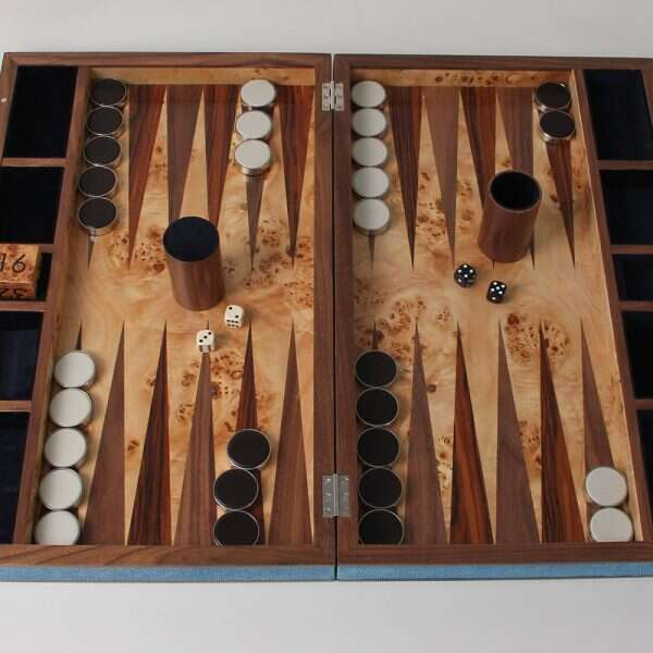 Deluxe backgammon board in duke blue shagreen Luxury gift