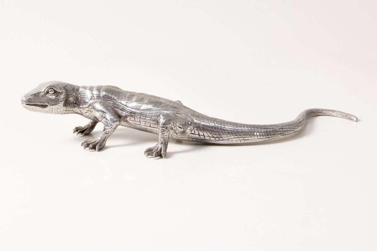 Eddie Lizard stainless steel table sculpture 6