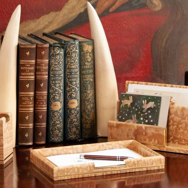 faux tusk bookends and tamo ash collection at christmas