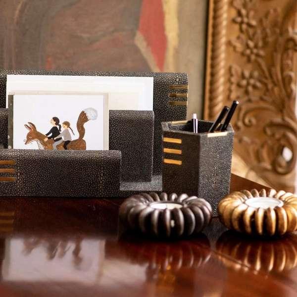 shagreen letter rack holder christmas cards
