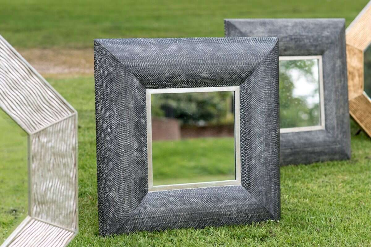 Wall Mirror in Charcoal Boa Snakeskin by Forwood Design 2
