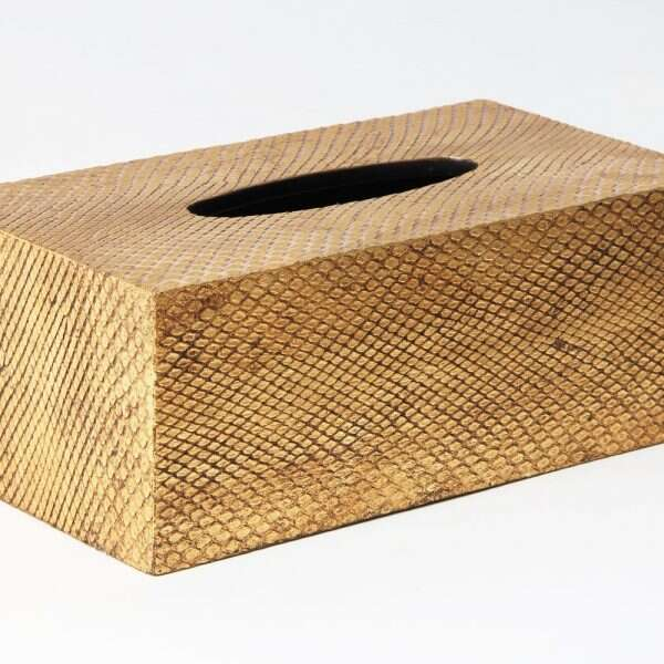 Tissue Box in Antique Gold Boa Snakeskin by Forwood Design 4