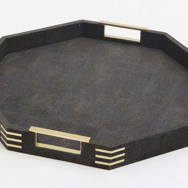 Holmes Octagonal Serving Tray in Seal Brown shagreen by Forwood Design 4