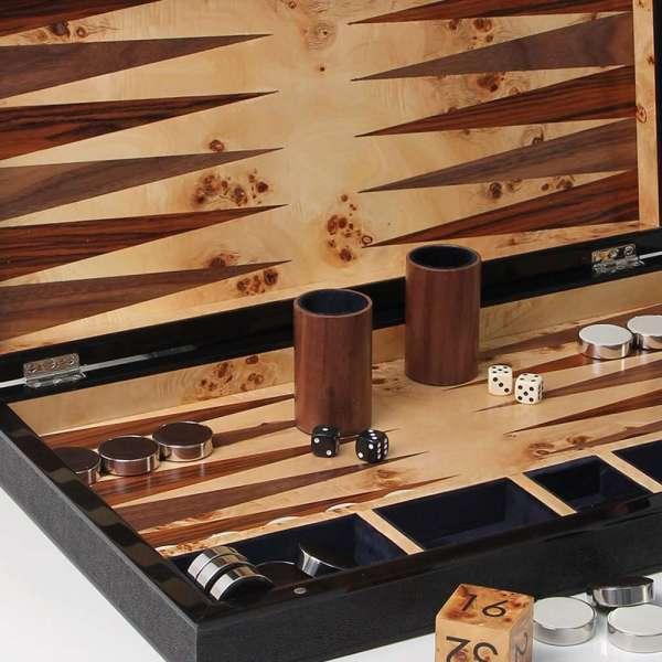 Large backgammon board in black shagreen