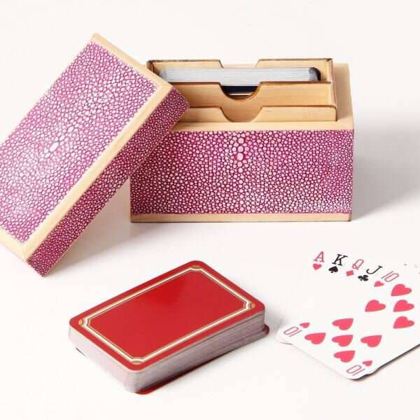 Playing Card Box in Pink Shagreen by Henry Forwood