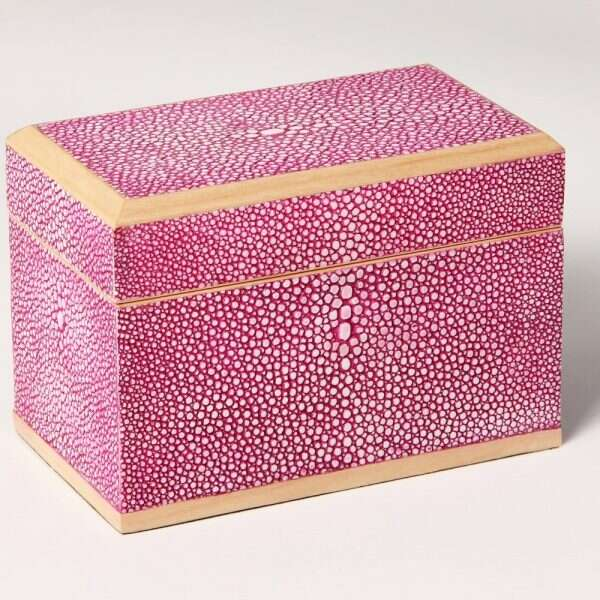 Playing Card Box in Pink Shagreen1
