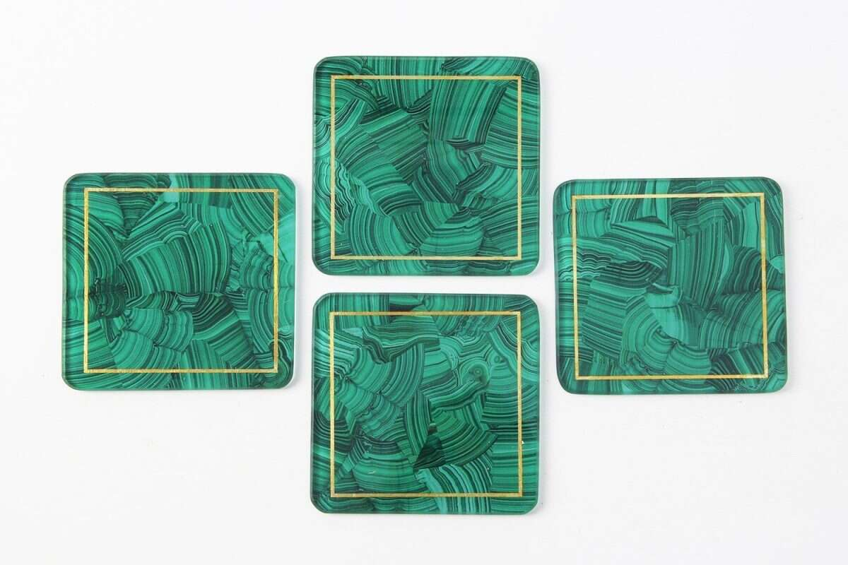 Malachite Drinks Coasters - Set of 4 by Forwood Design 4