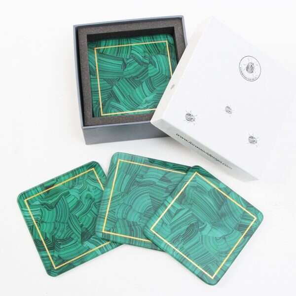 Malachite Drinks Coasters - Set of 4 by Forwood Design 3