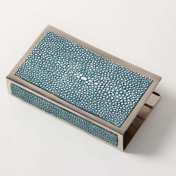 Matchbox Holders in Teal Shagreen by Forwood Design 10
