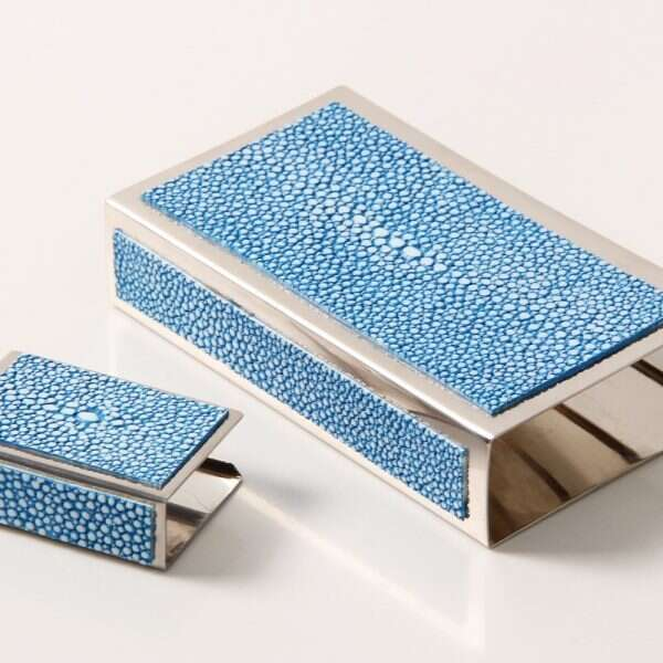 Matchbox Holders in Bahama Blue Shagreen by Forwood Design 2