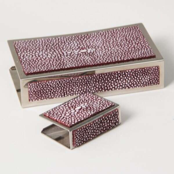 Matchbox Holders in Mulberry Shagreen by Forwood Design 2
