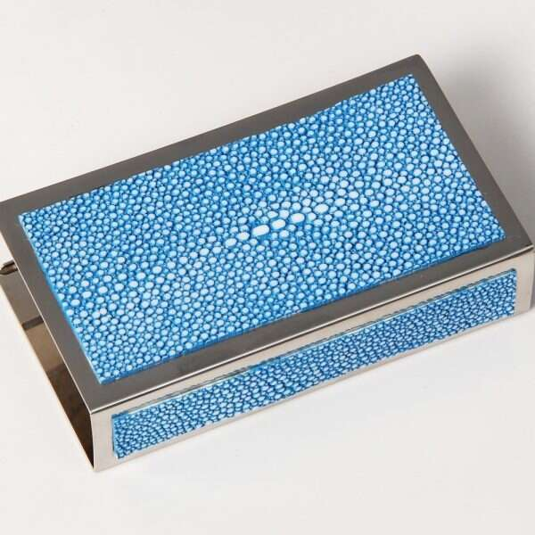 Matchbox Holders in Bahama Blue Shagreen by Forwood Design 11