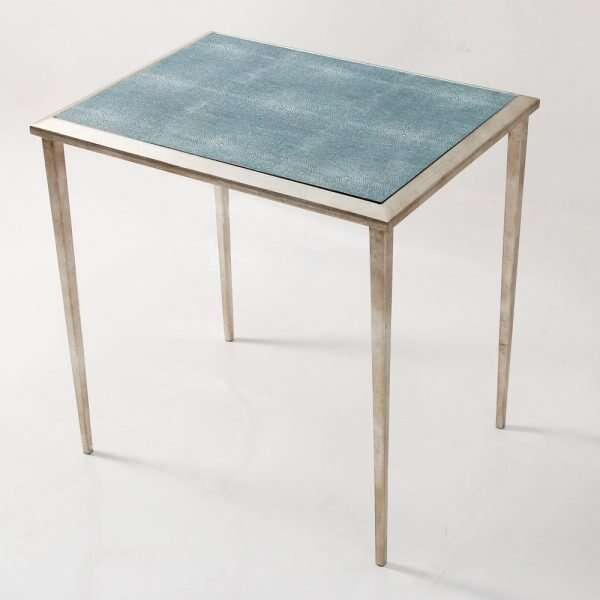 The Ellie Shagreen Side Table in teal shagreen 3