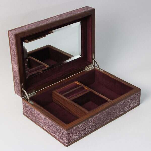 Ansley Jewellery Box in Mulberry Shagreen by Forwood Design 3