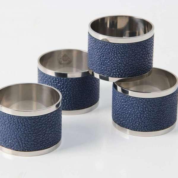 Napkin Rings in Nile Blue Shagreen 2